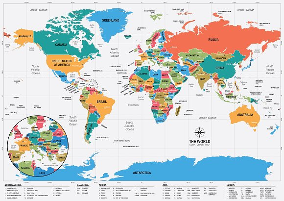 Scratch Off World Map Illustrations Creative Market - A3 printable world map