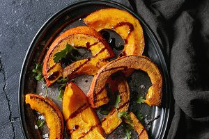 Roasted slised pumpkin