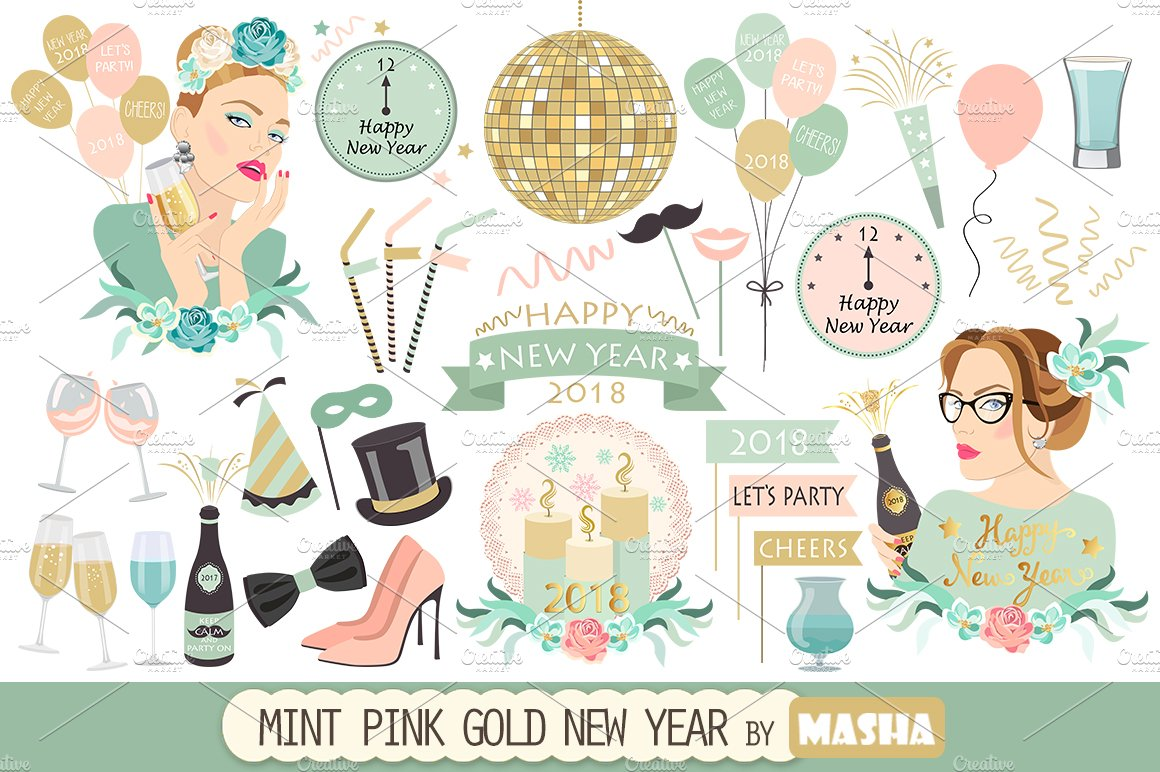 mint pink gold new year clipart illustrations creative market