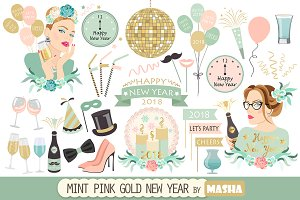 MINT PINK GOLD NEW YEAR clipart
