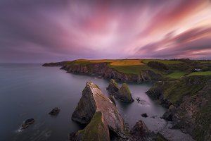 Sunset over the cliffs of Ireland