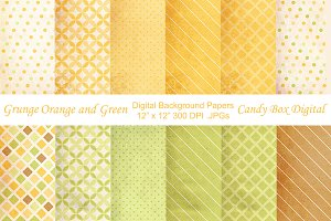 Grunge Orange Green Background Paper