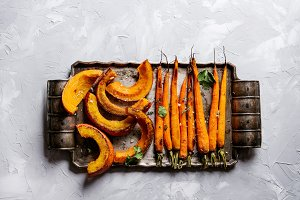 Roasted young carrot and pumpkin
