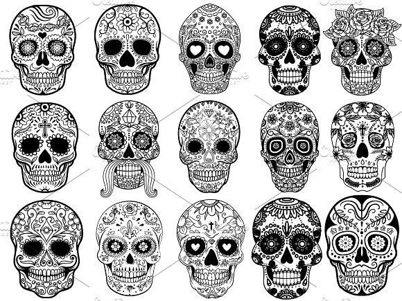 Sugar Skulls Set Vector Illustration Illustrations Creative Market