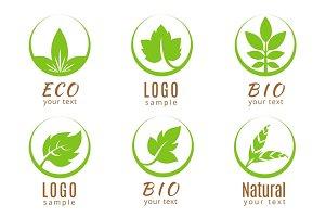 Nature logo set or ecology labels