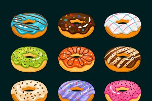 Donut cake cartoon icons