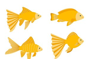 Yellow gold fishes icons