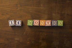 14 months in wooden blocks