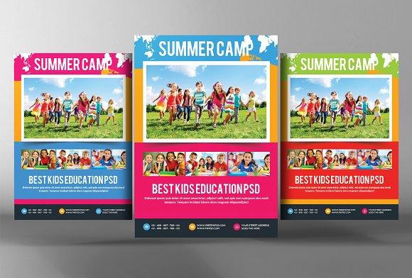 Kids School Education Flyers Bundle Flyer Templates Creative – Camp Flyer Template
