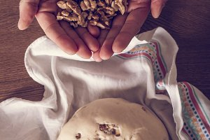 Homemade raw bread dough