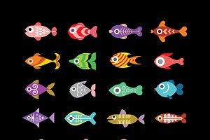 Fish vector icons on black