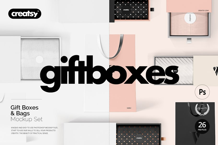 Gift Boxes And Bags Mockup Set Creative Product Mockups