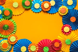 Colorful paper rosettes