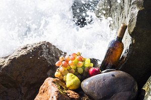 autumn harvest - wine, grapes and fruits of the sea waves