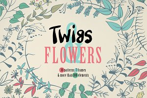 Twigs & flowers. Vector patterns