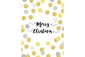 Festive luxury card Merry Christmas with glamour golden glitter confetti