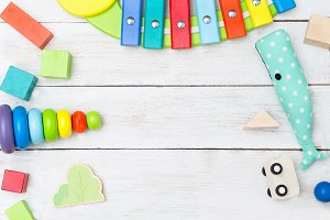Children's wooden toys. Flat lay