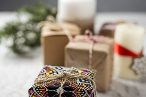 Background of Christmas gift boxes