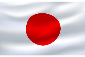 Flag of Japan 3d icon waving in the wind