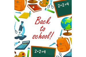 Back to school education background poster