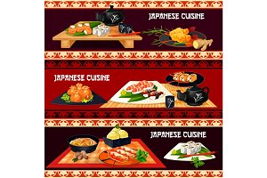 Japanese cuisine banner for restaurant, sushi bar