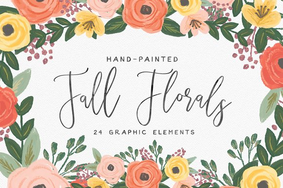 Hand Painted Fall Flowers