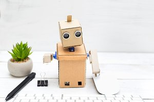 Robot works. Artificial Intelligence