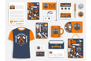 Construction company corporate identity set