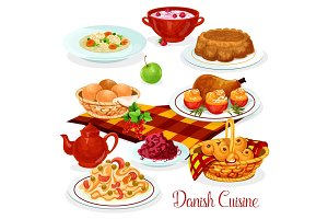 Danish cuisine dishes for menu design