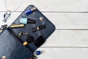 Cosmetics and accessories dark blue