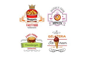 Fast food symbols with burger, donut and ice cream