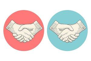 Vintage drawing of handshake in engraving style