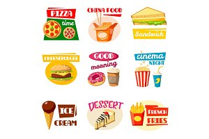 Fast food icons of sandwich, drink and snack