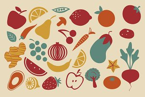 Retro style fruit and vegetables