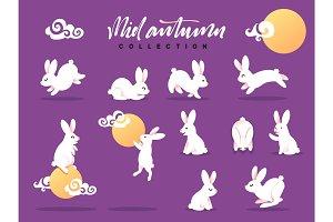 Set of happy rabbit illustration. Mid-Autumn festival.