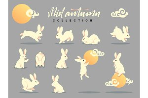Set of happy rabbit illustration. Mid-Autumn festival.