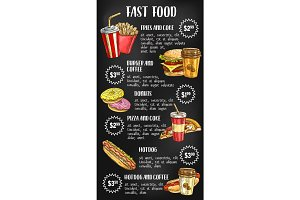 Fast food menu on chalkboard design