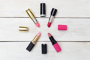Flat lay fashion with lipsticks