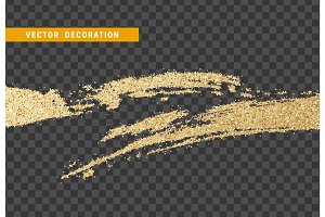 Brush stroke gold glitter.