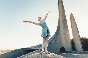 Female ballet dancer practicing