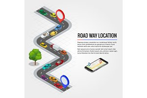 Road way location and Mobile gps navigation. Flat isometric high quality city transport car urban public and freight transport for infographics