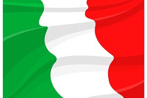 Italian flag background in 3d style