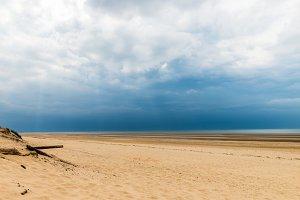 Sandy Formby Beach  near Liverpool on a cloudy day