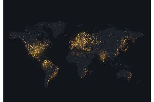 Night map of the world shine country and city