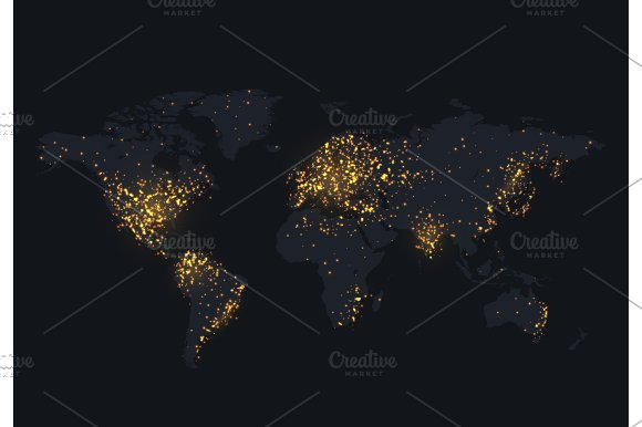 Night map of the world shine country and city illustrations night map of the world shine country and city illustrations gumiabroncs Images