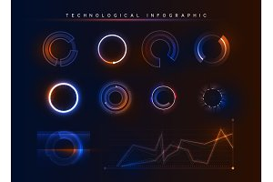 Holographic technological infographic. Big data visualization