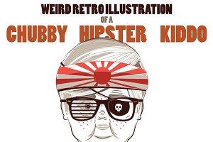 Retro Chubby Hipster Kid