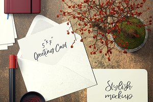 7x5 Greeting Card Mockup - 25