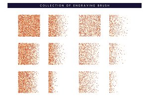 Set of brush stipple red pattern for design. Dot texture.