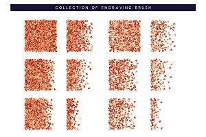 Brush stipple red confetti of hearts pattern for design